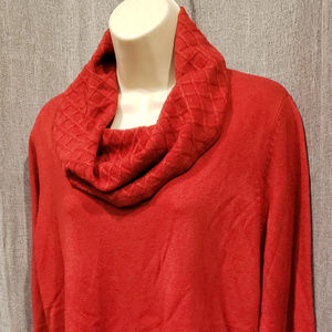 JM Collection Red Cowl Neck Sweater Large
